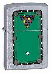 Custom Pool Table Rack Balls Zippo Lighter Satin Chrome