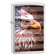 Flag and Eagle Zippo Lighter - Brushed Chrome - 28652 Zippo